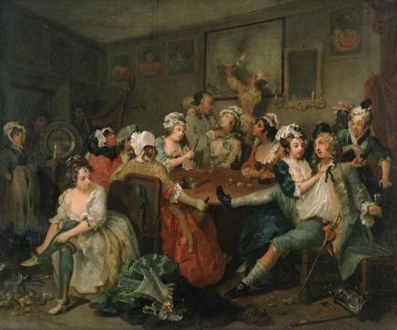 A Rake's Progress: 3, The Orgy, 1733, by William Hogarth